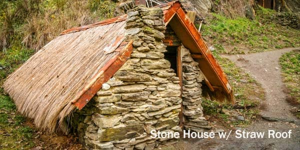 Insulation Through the Decades stone-house-straw-roof-insulation